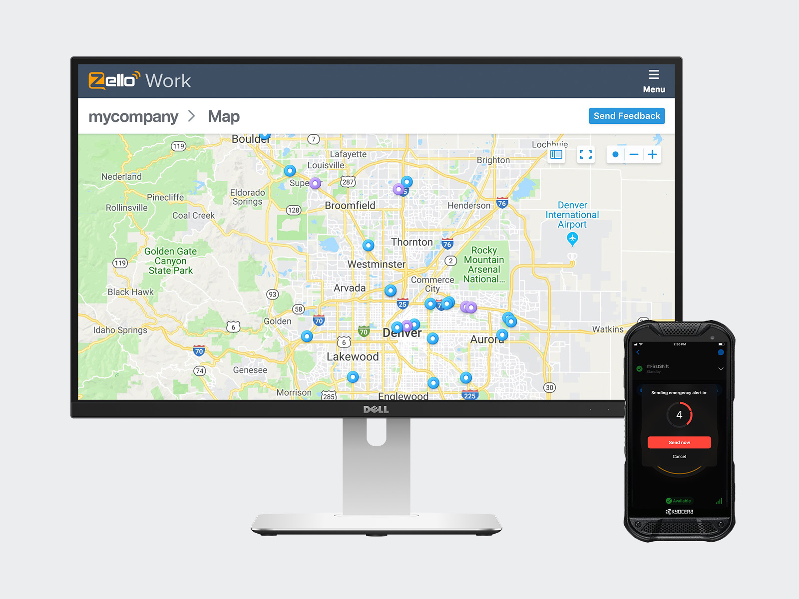Zello's Premium Maps on a desktop and Emergency Alerts on a rugged device